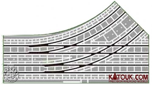 Kato 40-210 UNITRAM Street Track Electric Turnout 180mm Left